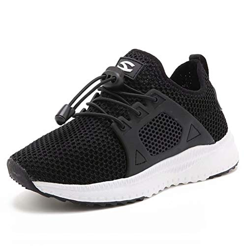 Kids Running Shoes Breathable Casual Sport Sneakers for Boys Girls Slip on Strap Knit School on Black 27