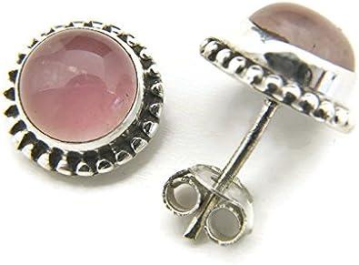 Pendientes de plata 925 con cuarzo rosa 10 mm10 mm (No: MOS 41)