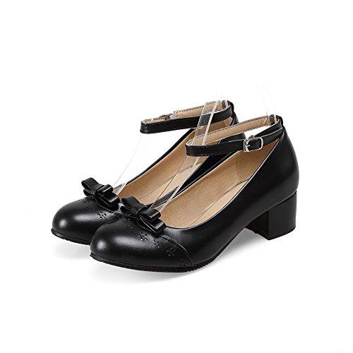 Balamasa Ladies Si Inchina Con Tacchi Pesanti Fibbia Urethane Pumps-shoes Nere