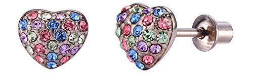 (Screw Back Crystal Domed Heart Girls Cute Stud Earrings for Kids by Regetta Jewelry - Stainless Steel for Sensitive Ears - Screwbacks Stays Secure in Kids Ear. (A: Multi color))