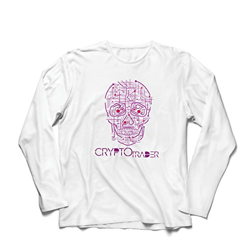lepni.me Men's T-Shirt Skull CPU - Crypto Trader - Cryptocurrency Investors, Blockchain Icon (X-Large White Multi Color)