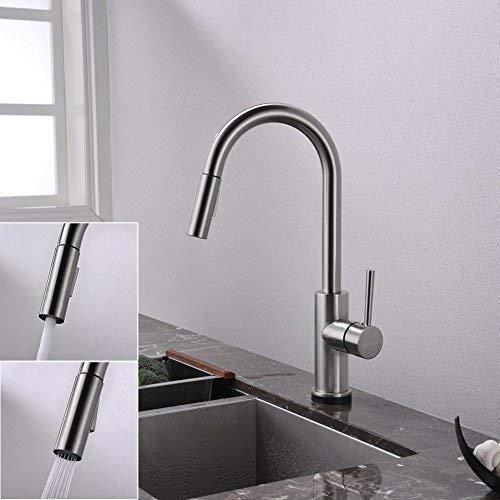 FORIOUS Touch Kitchen Faucets with Pull Down Sprayer, Kitchen Sink Faucet with Pull Out Sprayer, Fingerprint Resistant, Single Hole Deck Mount, Single Handle Copper Kitchen Faucet, Brushed Nickel by FORIOUS (Image #8)