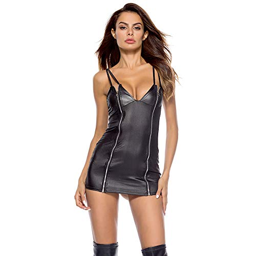 Sunyastor Womens Lingerie Babydoll Dress Lace Leather Underwear Hollow Sexy Siamese Sleepwear Playsuit Chemise Dress M-4XL