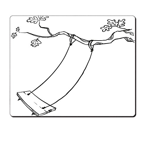 Mouse Pad Unique Custom Printed Mousepad Outdoor Sketchy Leaves Tree Branch With A Swing And Word Of Joy Garden Park Play Childhood Black White Stitched Edge Non Slip Rubber