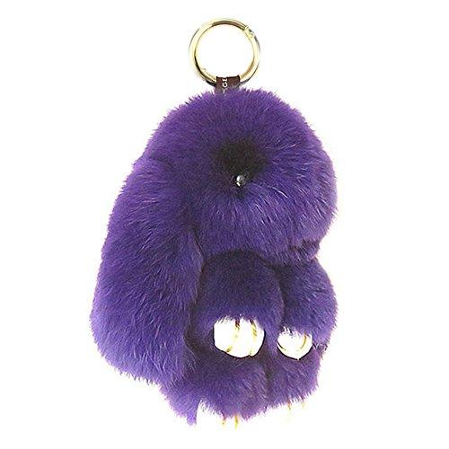 HXINFU Real Rabbit Fur Ball Keychain Bag Plush Pom Poms Fluffy Bunny Keychain