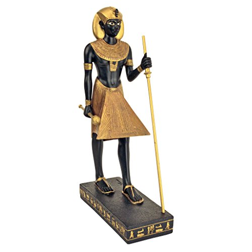 (Design Toscano King Tut Tutankhamen Pharaoh of the Egyptian Realm Figurine Statue, 8 Inch, Polyresin, Black and Gold)