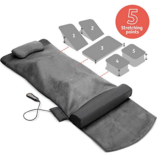 Back Stretching Electric Mat - 4 Stretching Programs for Physiotherapy at Home - Full Body & Back Relaxation - Release Lumbar Tension, Muscle Soreness & Back-Pain - Foldable Design with Handle (Best Full Body Stretches)