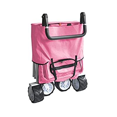 PINKFREE ICE COOLER PUSH AND PULL HANDLE FOLDING BABY STROLLER WAGON OUTDOOR SPORT COLLAPSIBLE KIDS TROLLEY W/ CANOPY GARDEN UTILITY SHOPPING TRAVEL BEACH CART - EASY SETUP NO TOOL NECESSARY: Toys & Games