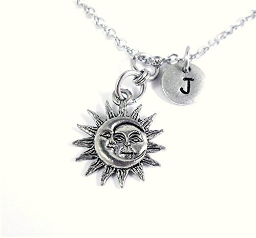Celestial Sun Moon Necklace Personalized Initial Charm Add Name and Birthstone Crystal Jewelry -
