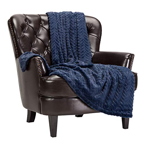 Chanasya Soft Faux Fur Embossed Throw Blanket – Solid Color Fuzzy Double Layered Super Soft Cozy Plush Elegant Throw…