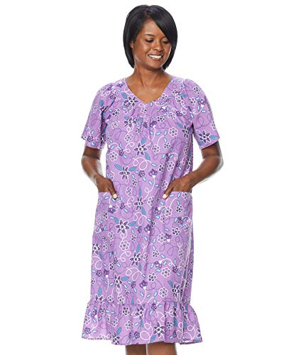 AmeriMark Casual V Neck Print Sun Dress with Pockets Plus Size