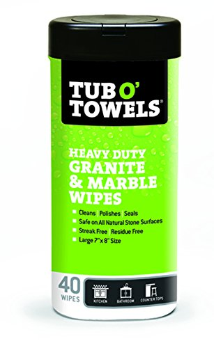 tub-o-towels-tw40-gr-granite-and-marble-cleaning-polishing-sealant-all-in-one-wipes-tub-of-40-wipes