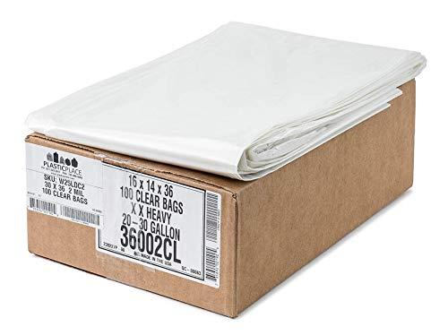 Plasticplace 20-30 Gallon Trash Bags, 2.0 Mil, 30''W x 36''H, Clear, 100 / Case