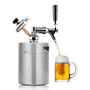 HAVEGET MINI acero inoxidable Mantenga fresca la cerveza cerveza barril ajustable Grifo de cerveza,Tirador de cerveza Dispensador Doméstico de Cerveza Espuma de cerveza (2L)