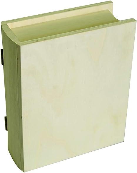 Artemio - Caja con Forma de Libro (17 x 21 x 7 cm, Madera), Color Beige: Amazon.es: Hogar