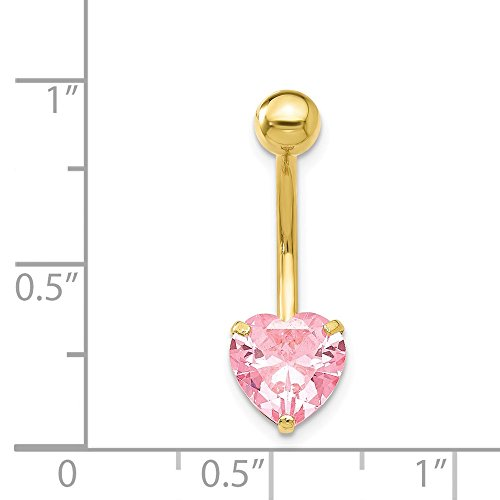 10k Yellow Gold With 8mm Pink Cubic Zirconia Heart Belly Ring Dangle by JewelryWeb (Image #1)