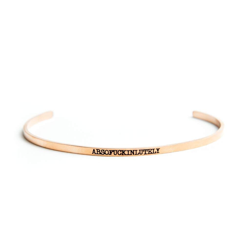Twisted Wares Triple F Funny Bangle Bracelet 14k Rose Gold Plated Stainless Steel Absofuckinlutely