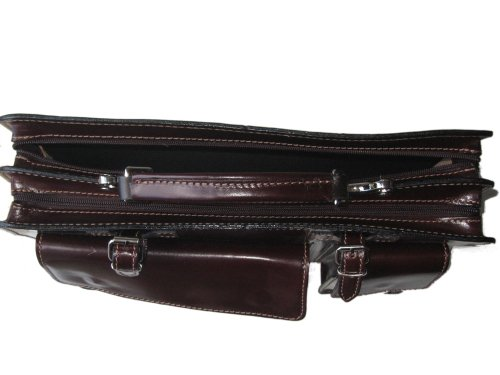 Crafted Italy Vacchetta And Classic Made Unisex In Tan Briefcase Document Giglio Style Strap With Cowhide Tablet Black Leather Italian Hand qXnfqFdwa