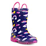 ZOOGS Children's Light Up Rain Boots for Little Kids & Toddlers, Boys & Girls, Navy (Rainbow), US 7T