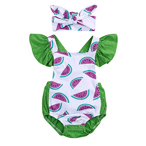 YOUNGER TREE Newborn Baby Girls Summer Jumpsuit Outfit Romper Bodysuit Watermelons Print Backless Ruffled Playsuit Clothes (3-6 Months, Green) (Watermelon Bodysuit)