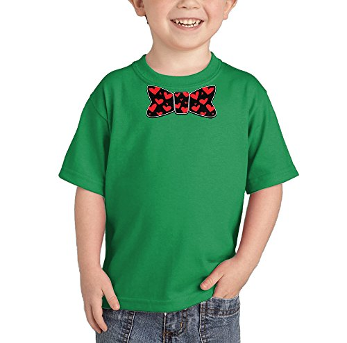 HAASE UNLIMITED Bowtie Made with Hearts - Valentine's Day T-Shirt (Kelly Green, 2T)