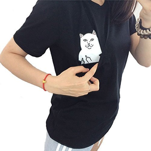 Women T Shirt Middle Finger Cat Pocket Shirts Harajuku Crop Top Tee