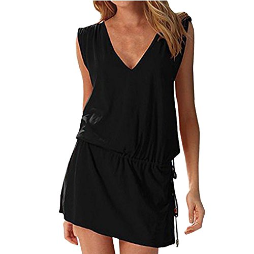 Hount Women's Beach Dress Deep V-Neck Loose Beach Cover Up (Black, Small)