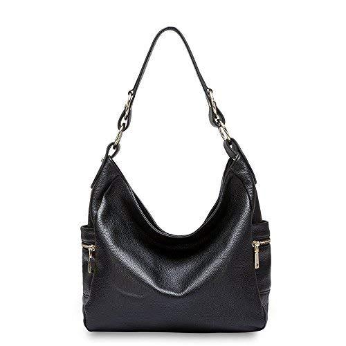 DHL Delivery Fashion Women Zipper Cowhide Genuine Leather Handbag Shoulder Tote Hobo Bag Purse Satchel Black
