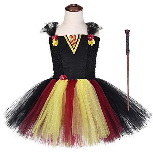 Tutu Dreams Kids Girls Wizard Witch Tutu Costume Dress with Wand Accessories Halloween Carnival Pageant Holiday Party (Wizard, Large(5-6 -