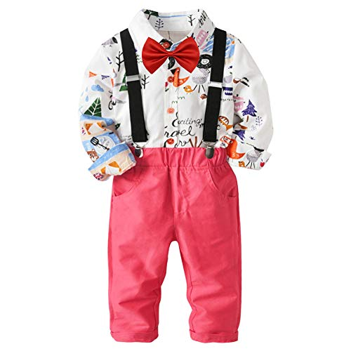 Meijunter Baby Boys Gentleman Outfits Suit Suspender Trousers + Shirt + Bow - City Trousers Suit