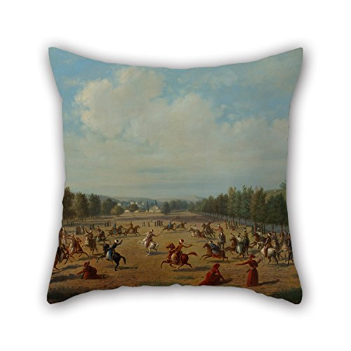 Oil Painting Luigi Acquarone - A Jereed Game In Kağıthane Throw Pillow Covers ,best For Deck Chair,office,outdoor,chair,bedding,divan 16 X 16 Inch / 40 By 40 Cm(2 Sides)