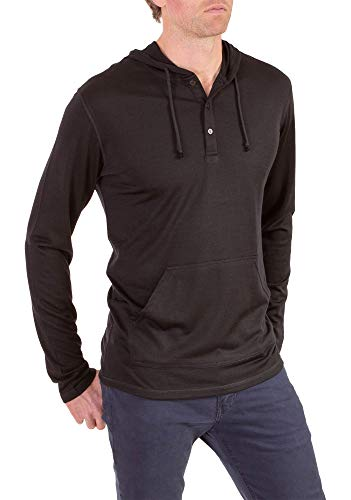 Woolly Clothing Men's Merino Wool Henley Hoodie - Everyday Weight - Wicking Breathable Anti-Odor L BLK