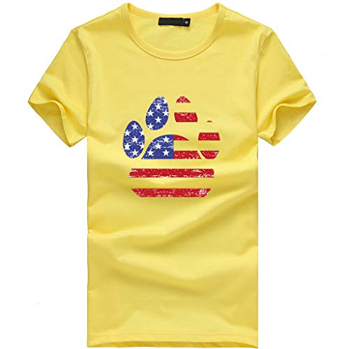 Sunhusing Ladies Independence Day Star Stripe Flag Pattern Dog Claw Shape Printed Short Sleeve T-Shirt Yellow