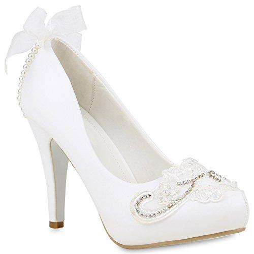 Stiefelparadies Damen Pumps Brautschuhe mit Pfennigabsatz Spitze Perlen Flandell Weiss Cabanas