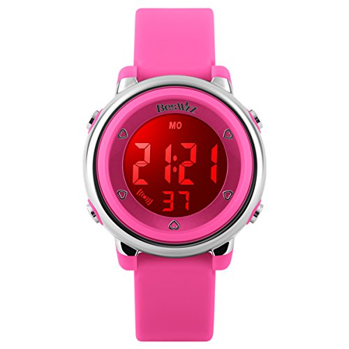 Kids Watches Alarm Stopwatch 12/24H Waterproof 7 Color LED Luminescent Children Jelly Wristwatches