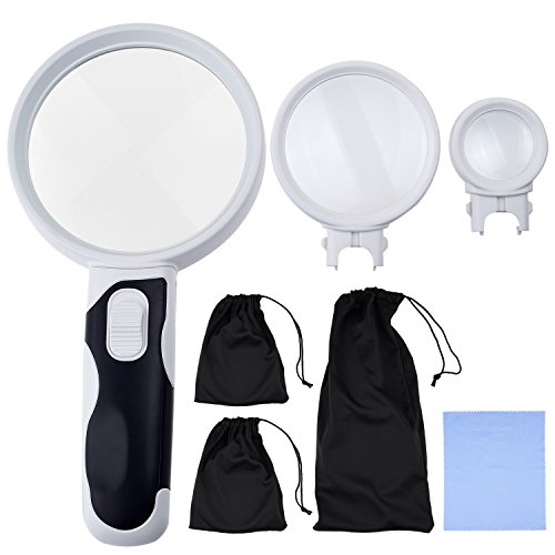 KARE AND KIND Interchangeable Illuminated Dual Power LED Handheld Magnifying Glass Set - 2.5X, 5X, and 16X - Magnifier for Senior Reading, Crafts, Computer Repair and Jewelry Loupe(16x 5x 2.5x) 2.5 X Lighted Magnifier