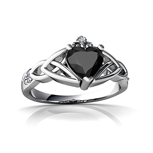 14kt White Gold Black Onyx and Diamond 6mm Heart Claddagh Trinity Knot Ring - Size 7 (14kt Claddagh Ring)