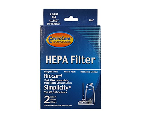 Riccar 1700 1800 HEPA And Charcoal Filter Set RF17 Also Will Fit Simplicity Models S36, S38, S30