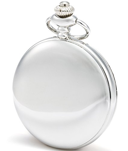 SEWOR Nice Quartz Pocket Watch Shell Dial Gold Smooth Case With Two Type Chain(Leather+Metal) (Sliver) Silver White Gold Pocket Watch