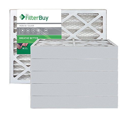 10x14x4 AFB Silver MERV 8 Pleated AC Furnace Air Filter. Pack of 6 Filters. 100% produced in the USA.