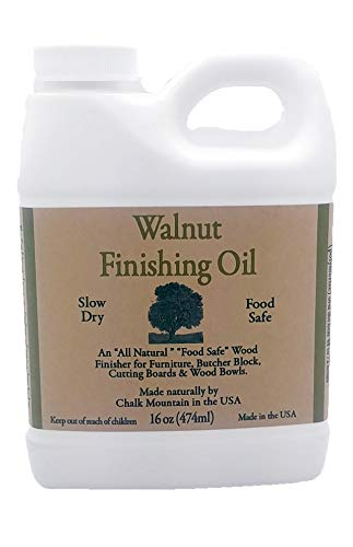 - Chalk Mountain Brushes 16oz Walnut Oil Food Safe Finisher. Great for Wooden Utensils. Preserve and Beautify Unfinished Wood