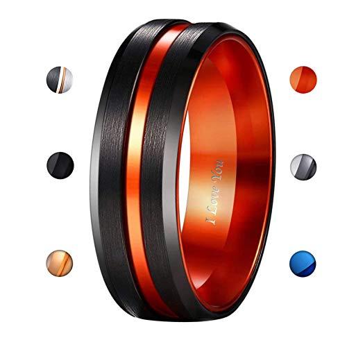 WASOLIE Tungsten Carbide Wedding Ring Engagement Band for Men Women Rose Gold Blue Black Matte Brushed Comfort Fit ()