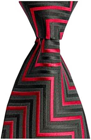 MENDENG Classic Black Red Striped Tie Woven Jacquard Silk Men Suits Ties Necktie