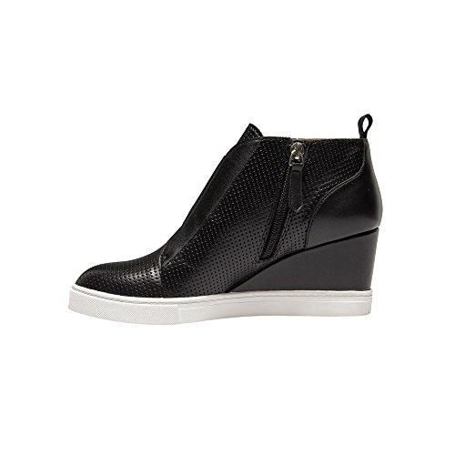 Linea Paolo Felicia | Women's Platform Wedge Bootie Sneaker Leather Or Suede Black Perforated Leather amazing price cheap price store sale clearance store cheap price DXKNz3XO6F