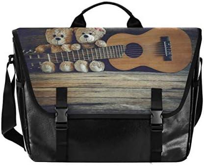 メッセンジャーバッグ メンズ ベアー クマ ギター 斜めがけ 肩掛け カバン 大きめ キャンバス アウトドア 大容量 軽い おしゃれ