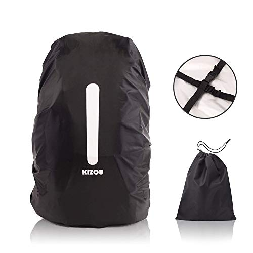 KiZOU Backpack Rain Cover – Upgraded Cross Directional Buckle Belts, with Reflective Stripe and Storage Bag, 190T Nylon Double Layer, Size L for 45-55L Backpack