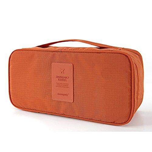 Multifunktional Unterwäsche BH Aufbewahrungstasche mit Reißverschluss Sockentasche Faltbare Bra Tasche Reisetasche Beutel mit Handgriff (Orange)