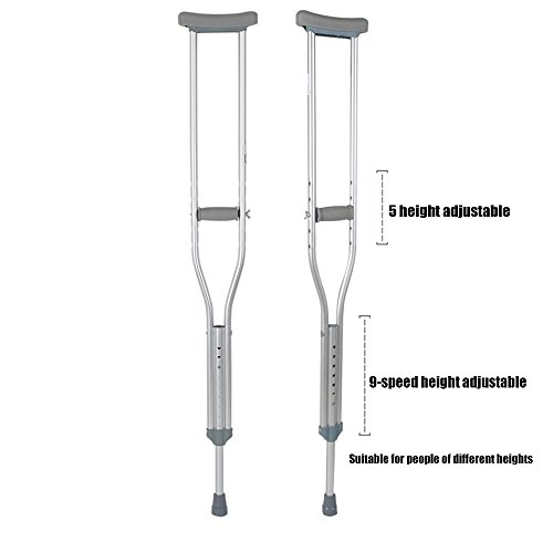 XIHAA Thick Tube Adjustable Aluminum Alloy Medical Crutch, With Comfortable Underarm Pad And Handgrip Silver -M(1 Pair) by XIHAA (Image #1)