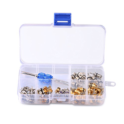 - 39PCS Air Conditioning Valve Core A/C R12 R134a Refrigeration Tire Valve Stem Cores Remover tool