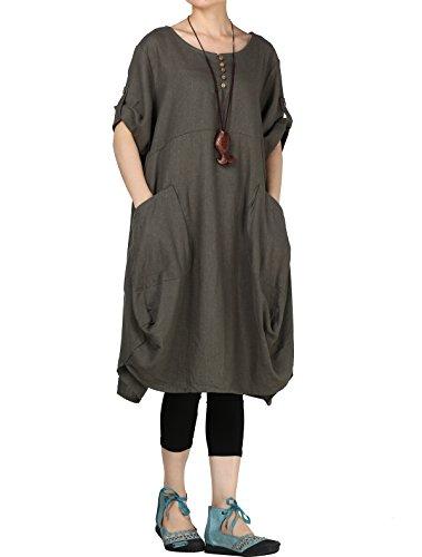 Mordenmiss Women's Cotton Linen Dresses Summer Roll-up Sleeve Baggy Sundress with Pockets XL Green - Pleat Dress Maternity Sleeve